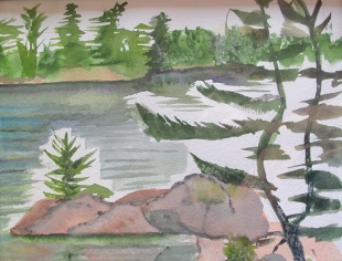 Canada-Between the Island-Watercolour Sketch-Framed-(8X10)-$50