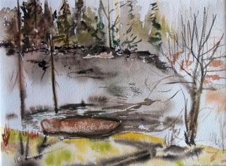 Canada-Faith's Pond-Harmony-Watercolour on Paper-Framed-(8.5X11.5)-$70