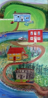 Canada-New Foundland-Acrylic on Board-Framed-(47.5X23.5)-$2,000
