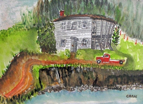 Canada-New Foundland-Derelict House-Water Colour on Paper-Framed-(8X12)-$75