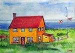 Yellow House by the Sea, Newfoundland, Canada - Acrylic on Canvas (8X12)