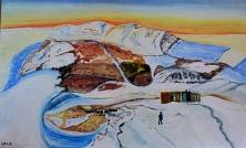 Canada-Nunavut-Bylot Island with Thule Mountain-Glacier-Acrylic on Board-Unframed-(24X40)-$1,500