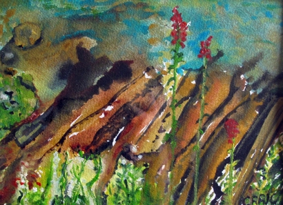 Canada-Sans Souci-Indian- Paintbrush-Watercolour on Paper-Framed-(5.5X7.5)-$75