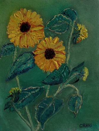Canada-Sunflower-Oil on Canvas-Finished Edges-(12X9)-NFS