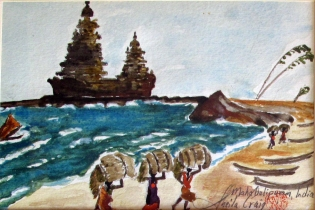 India-Gathering Firewood in Seaside Temple-Watercolour on Paper-Unframed-(5.5X8.5)-NFS