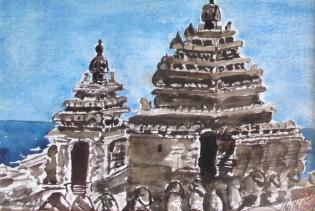 India-Seaside Temple Mahabali Puram-Watercolour on Paper-Unframed-(5.5X8.5) NFS
