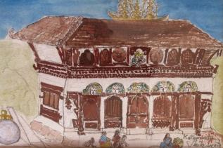 Nepal-Kathmandu Temple -Watercolour on paper-Unframed-(5.5X8.5)-NFS