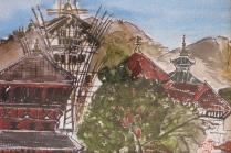 Nepal-Kathmandu Temple-Watercolour on paper-Unframed-(5.5X8.5)-NFS
