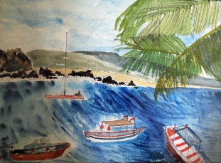 Antigua View from the Beach-Martinique and Guatamala-Framed-(8.5X11.5)-$150