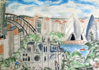 Australia-View of Church Opera House-Oil Crayon on Paper-Framed-(8X12)-$150
