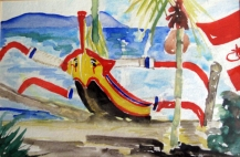 Bali-Beach-Water Color on Paper-Framed(5.5X8.5)-NFS