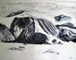 Glacier, Thule Mountain, Bylot Island, High Arctic - Acrylic on Canvas (24X29.5)