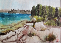 Canada-Lake Huron-Manitoulin Island-Watercolour on Paper-Framed-(8.5X12)-NFS