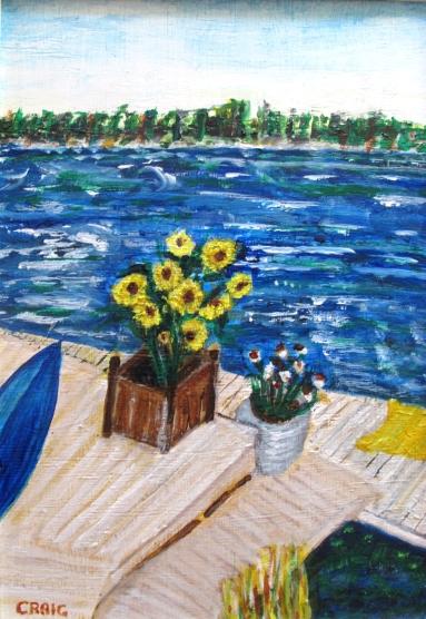 Canada-North Dock Emerald Isle San Souci-Georgian Bay-Acrylic on Board-Framed-(17X11.5)-$100