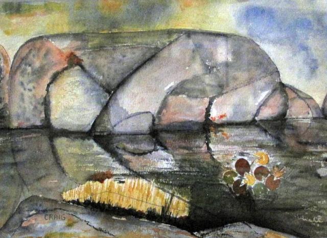 Canada-North of Killarney-Pre Cambrian Rock-Watercolour on Paper-Framed-(8.5X11.5)-$100
