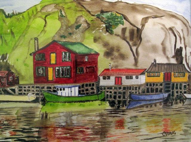 Canada-Quidi Vidi Harbour-Watercolour-Framed-(11X14.5)-NFS