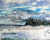 Canada-Sans Souci-Watercolour Sketch-Framed-(8X9.5)-$100