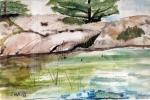Shoreline, Georgian Bay Canada - Watercolor on Paper (5.5X8.5)