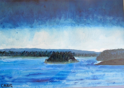 Canada-Storm Cloud over Emerald Isle-San Souci Georgian Bay-Water Colour on Paper-Framed-(10X13.5)-$125