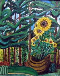 Canada-Sunflowers and Wood-Mixed Media on Board-Framed-(16X12.5)-$100