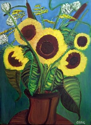 Canada-Sunflowers-Sans SouciAcrylicOil Mixed Media-Framed-(23.5X17.5)$200