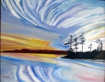 Canada-Sunset Sans Souci-Georgian Bay-Oil on Canvas-Framed-(24X30) $2,000