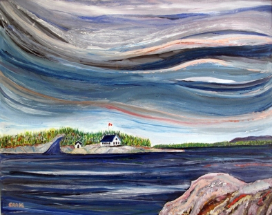 Canada-Windy day-Georgian Bay-Oil on Canvas-Finished Edges-(24X29.5)-$650