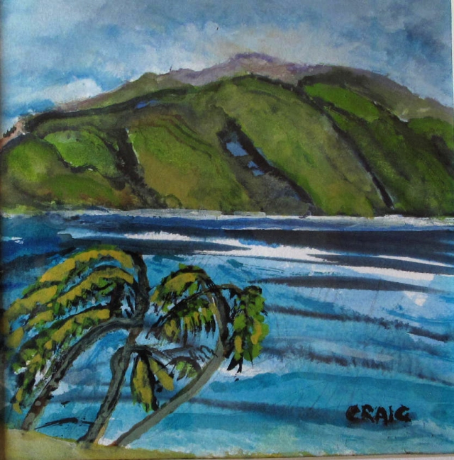 Caribbean-Tropical View-Watercolour on Paper-Framed-(6X6)-$50
