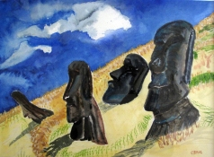 Chile-Easter Island-Huge Volcanic Moai Heads-Water color on Paper-$150