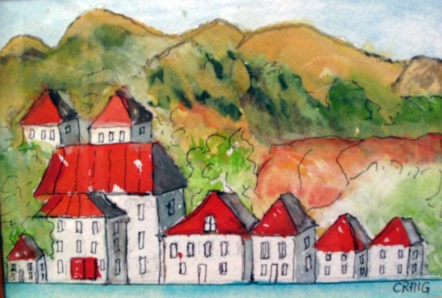 Croatia-Dalmatian Coast-Watercolour on Paper-Framed-(5X7)-$55