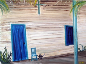 Cuba-Countryside Framehouse-Oil on Canvas-Finished Edges (18X24) $140