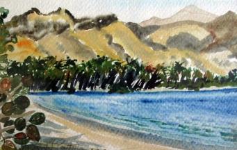 Cuba-Marea Del Portillo-Water Color on Paper-Framed-(5.5X8.5)-$150