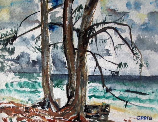 Cuba-Vara Dero-Watercolour on Paper-Framed-(8.5X11.5)-$100