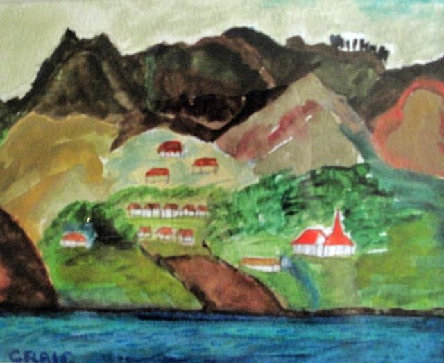 Dalmatian Coast-Mountainous Village-Framed-(7.5X9.5)-$60