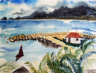 Guadalupe-View from the Beach-Unframed-(9X11.5)-$75