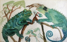 Hawaii-Pet Lizards-Sara and Tyrone-Water Color on Paper-Framed-(5X8.5)-$50