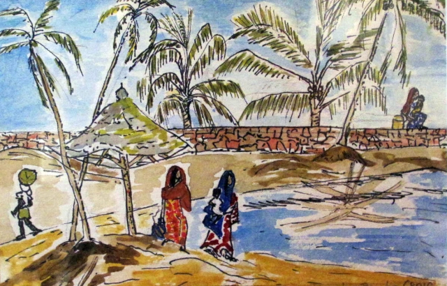 India-Kovalam Beach 2-watercolour on Paper-Framed-(5.5X8.5)-$50