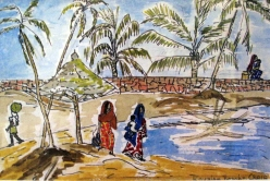 India-Kovalam Beach-Watercolour on Paper-Framed-(5.5X8.5)-$125
