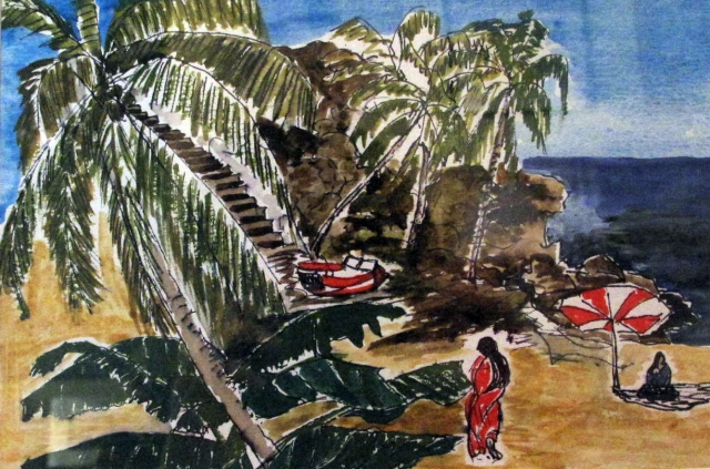 India-Kovalam Beach-Watercolour on Paper-Framed-(5.5X8.5)$50