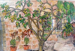 Israel-Jerusalem-American Colony Hotel-Oil Crayon on Paper-Framed-(6X8.5)-$100