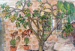 Israel-Jerusalem-American Colony Hotel-Oil Crayon on Paper-Framed-(6X8.5)-$100