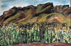Israel-View from the Dead Sea-Oil Crayon-
