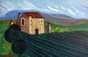 Italy-Greek Sentinal Tower -Paestum-Oil on Canvas-(16X24)-$600
