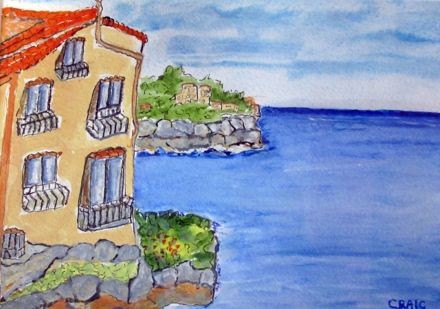 Italy-Tropea-Watercolour on Paper-Framed-(7X9.5)-$100