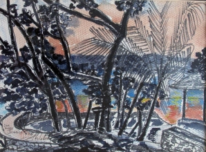 Jamaica-Sea Grapes-Discovery Bay-Oil Crayon on Paper-Framed-(8.5X11)-$100