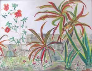 Jamaica-Vegetation-Oil Crayon-Framed-(7.5X9.5)-$75