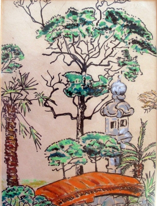Japan-Japanese Garden-Oil Crayon on Paper-Framed-(9.6X5)-$65