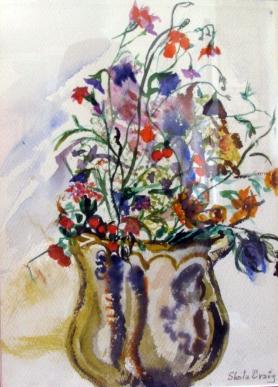 Japan- Vase with Flowers-(12X8.5)-Framed NFS