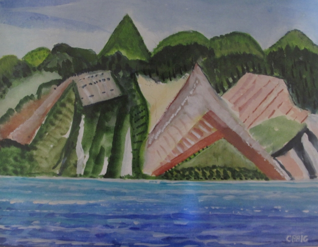 Marquesas-Volcanic Mountains- Watercolour-Framed-(8.5X11.5)-$100