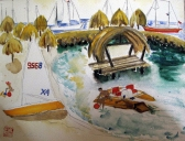Martinique Beach Scene-Unframed-(12X9)-$75